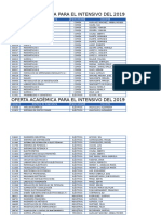 Oferta Académica Lapso Especial Intensivo 2019