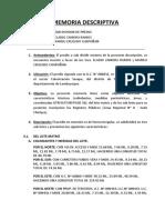 Memoria Descriptiva Subdivision Los Riojas