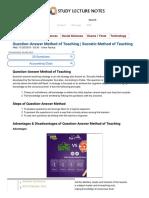 Question-Answer Method of Teaching Socratic Method of Teaching SLN