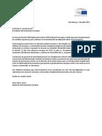 Carta de l'eurodiputada Diana Riba al president del Parlament Europeu