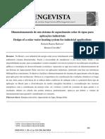 Dimensionamento de Um Sistema de Aquecimento Solar de Água Para Aplicações Industriais