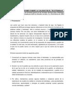 Algunas Reflexiones Sobre La Calidad en El Teletrabajo (1999)