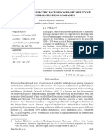 Impact of Firm Specific Factors on Profitability o