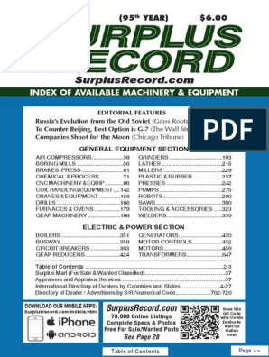 AUGUST 2019 Surplus Record Machinery & Equipment Directory