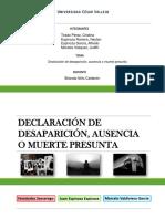 Declaracion de Desaparicion Ausencia o Muerte Presunta