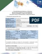 Guía de Actividades y Rúbrica de Evaluación Ciclo de La Tarea2 Reconocimiento de La Comunicación e Interacción Social