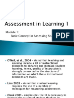 Assessment in Learning 1