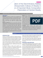 Evaluation of the Discriminatory Abilities of Anthropometric Indices of Obesity in Prediction of Important Body Composition Parameters of Central Obesity