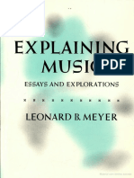 MEYER Leonard B Explaining Music Essays and Explorations