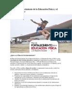 ¿Qué es Plan de Fortalecimiento de la Educación Física y el Deporte Escolar 2016