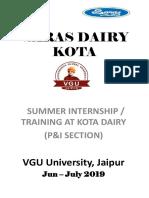 Report on Saras Dairy_kota(Raj.) By...Rahul Kumar !!