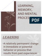Learning, Memory and Mental Processes