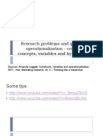 Research Questions and Operationalization - Constructs Concepts Variables and Hypotheses 2014