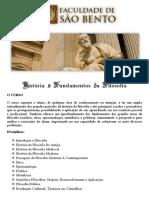 História e Fundamentos Da Filosofia - Faculdade São Bento