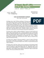 GULF COUNTY SHERIFF'S OFFICE LAW ENFORCEMENT SUMMARY JULY 1, 2019 – JULY 14, 2019
