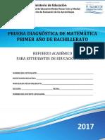 Prueba Diagnóstica- Matemática -Primer Año Bachillerato - 2017