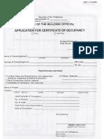 Application for Certificate of Occupancy CEBU city