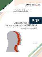 CONSIDERACIONES ORGANIZACIONALES CICLO ESCOLAR 2019 - 2020