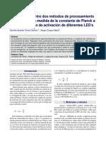 Comparación entre dos métodos de procesamiento de datos para la medida de la constante de Planck a través del voltaje de activación de diodos emisores de luz