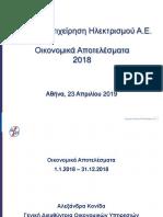 ΔΕΗ Οικονομικά αποτελέσματα 2018