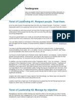 Tenet of Leadership