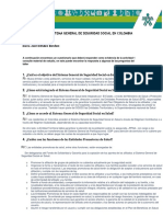 Cuestionario Sistema General de Seguridad Social en Colombia