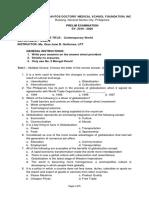Contemporary World Prelim Exam Test Draft