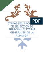 ETAPAS DEL PROCESO DE SELECCIÓN DE PERSONAL O ETAPAS GENERALES DE LA ADMISIÓN
