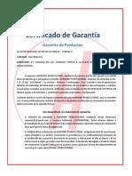 CERTIFICADO DE GARANTIA DE EQUIPO DE SONIDO
