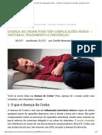 Doença de Crohn Pode Ter Complicações Fatais → Sintomas, Tratamento e Prevenção - greenMe.com.br