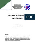 LABORATOTRIO N°3 PUNTO DE INFLAMACIÓN Y COMBUSTIÓN