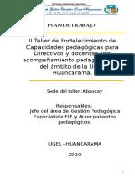 Plan de II Taller Directivos y Docentes 2019 Eib Acompañantes