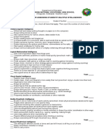 Checkilst for Assessing Students' Multiple Intelligences