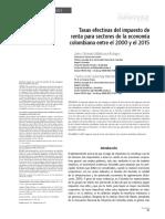 Tasas efectivas del impuesto de renta para sectores de la economia colombiana entre el 2000 y el 2015