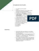 Job Application Letter Checklist