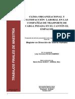 Clima Organizacional y Satisfaccion Laboral en Compañias de Transporte