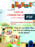 Unit 10 Communication Lesson 1 Getting Started