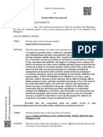 Stock Articles of Incorporation