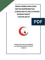Pedoman Pemilihan Dan Penetapan Prioritas Pengukuran Mutu Pelayanan Rs 2018