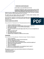 Placement Questionnaire CERP 2014-18