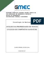 ANÁLISE DAS PROPRIEDADES DE TENSÃO E FLEXÃO DE COMPÓSITOS SANDUÍCHE