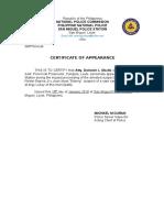 Certificate of Apearance