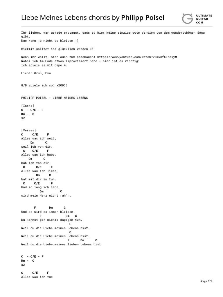 Liebe Meines Lebens Chords (Ver 2) by Philipp Poiseltabs
