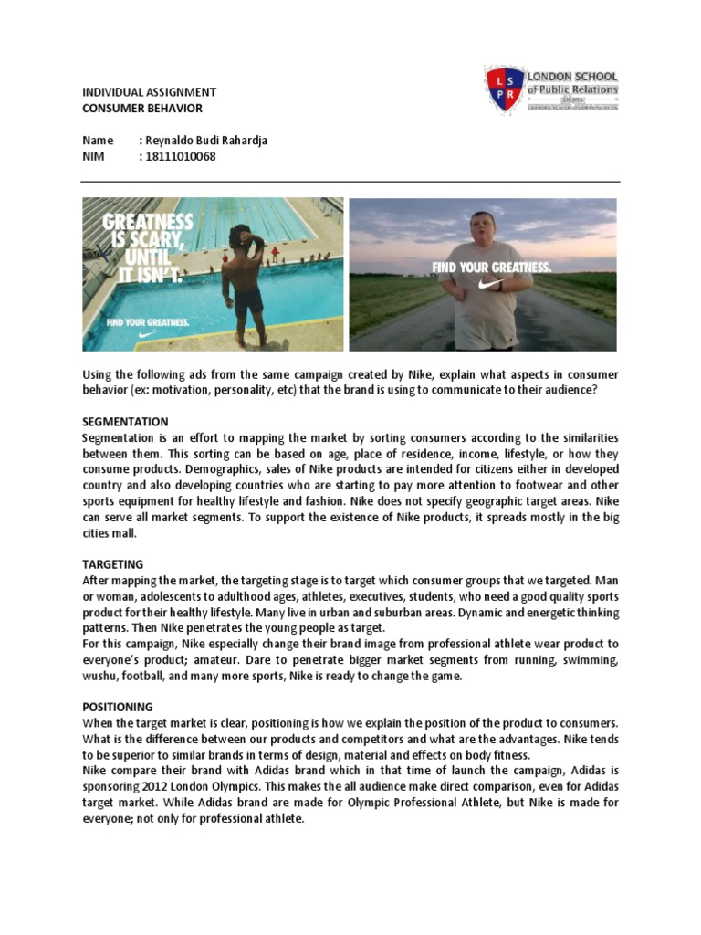 Consumer Behavior Reynaldo Nike Find Your Greatness Ads Analysis Attitude Psychology Perception