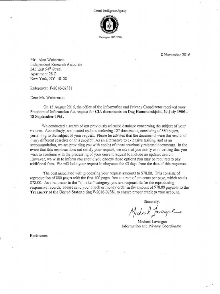 Dag Hammarskjold Cia Documents United States Secretary Of