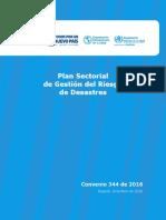 Plan Sectorial de Gestión Del Riesgo de Desastres