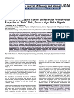 "Evidence of Geological Control on Reservoir Petrophysical Properties of ""Beta"" Field, Eastern Niger Delta, Nigeria"