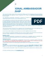 International Ambassador Scholarship Application Form May September 2019