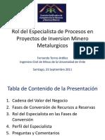 rol del especialista en procesos mineros
