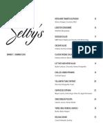 Selby's Dinner Menu Summer